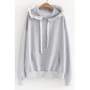 Ruffle Trim Hood Long Sleeve Plain Leisure Hoodie