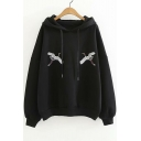 Chic Crane Embroidered Long Sleeve Leisure Hoodie