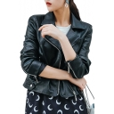 Cool Notched Lapel Collar Long Sleeve Plain Crop PU Jacket