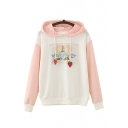 Color Block Cartoon Character Letter Printed Long Sleeve Hoodie