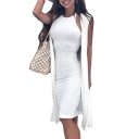 Halter Sleeveless Plain Ribbed Midi Pencil Dress