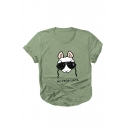 Cute Glasses Sheep Letter Printed Round Neck Short Sleeve Tee