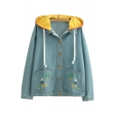 Contrast Hood Cute Cartoon Embroidered Long Sleeve Button Front Loose Denim Jacket