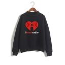 I HEART RADIO Letter Graphic Printed High Neck Long Sleeve Sweatshirt