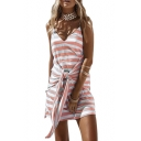 Striped Printed Spaghetti Straps Sleeveless Knotted Front Mini Cami Dress