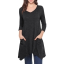 V Neck Long Sleeve Slim Asymmetric Hem Mini T-Shirt Dress