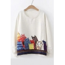 Painting Cat Printed Round Neck Long Sleeve Sweatshirt