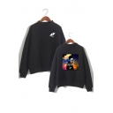 Letter Character Graphic Printed High Neck Long Sleeve Sweatshirt