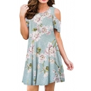 Cold Shoulder Floral Printed Round Neck Mini A-Line Dress