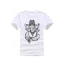 Floral Elephant Printed Round Neck Short Sleeve T-Shirt