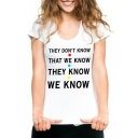 THEY DON'T KNOW Letter Graphic Printed Round Neck Short Sleeve T-Shirt