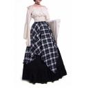 Vintage Off The Shoulder Long Sleeve Elastic Waist Contrast Plaid Layered Maxi A-Line Dress