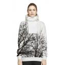 Tree Printed Long Sleeve Anorak Sports Hoodie