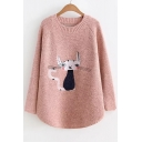 Cartoon Cat Embroidered Long Sleeve Round Neck Warm Sweater