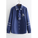Boat Embroidered Contrast Striped Self-Tie Front Button Front Lapel Collar Long Sleeve Shirt