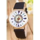 Feather Pattern Leather Quartz Chic Watch