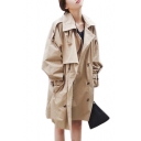 Chic Plain Double Breasted Notched Lapel Collar Long Sleeve Trench Coat