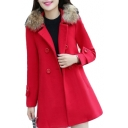 Faux Fur Lapel Collar Long Sleeve Double Breasted Plain Tunic Coat