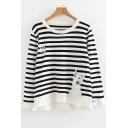 Fish Bone Cat Embroidered Striped Pattern Round Neck Long Sleeve Sweater