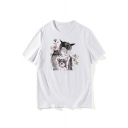Lovely Floral Dog Printed Round Neck Short Sleeve T-Shirt