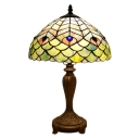 Green Peacock Feather Design Mahogany Base Table Lamp in Tiffany Stained Glass Style