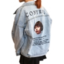 Character Letter Printed Back Lapel Collar Long Sleeve Button Front Denim Jacket