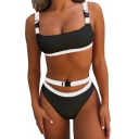 Contrast Buckle Straps Sleeveless Hollow Out Unique Bikini