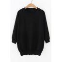 Round Neck 3/4 Length Sleeve Plain Tunic Sweater