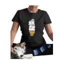 Cute Ice Cream Cat Printed Round Neck Short Sleeve T-Shirt