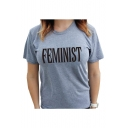 Leisure FEMINIST Letter Printed Short Sleeve Round Neck Tee