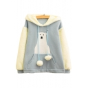 Japanese Bear Printed Color Block Faux Fut Patchwork Long Sleeve Loose Hoodie