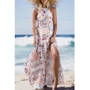 Halter Sleeveless Floral Printed Split Front Maxi Beach Dress