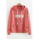 HEY BOY Letter Strawberry Embroidered Long Sleeve Leisure Hoodie