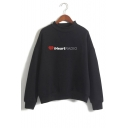 I HEART Letter Graphic Printed High Neck Long Sleeve Sweatshirt