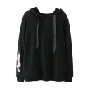 Floral Embroidered Long Sleeve Leisure Casual Hoodie