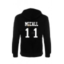 Popular Letter Number Printed Long Sleeve Casual Hoodie