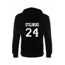 Letter 24 Number Printed Long Sleeve Casual Hoodie