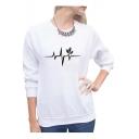 Chic Leaf Printed Round Neck Long Sleeve Slim Sweatshirt