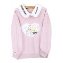 Fake Two Pieces Contrast Lapel Collar Cat Printed Long Sleeve Sweatshirt