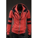 Color Block Layered Zip Closure Long Sleeve Hoodie