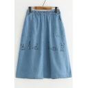 Cute Rabbit Printed Elastic Waist Denim Midi A-Line Skirt