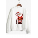 Cartoon Santa Claus Printed Mock Neck Long Sleeve Sweatshirt