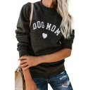 DOG MON Letter Heart Printed Round Neck Long Sleeve Sweatshirt