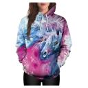 Casual Fancy Unicorn Printed Long Sleeve Unisex Hoodie