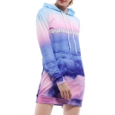 Fancy Letter Cloud Printed Long Sleeve Slim Mini Hooded Dress
