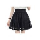 Chic High Waist Mesh Patchwork Mini A-Line Skirt