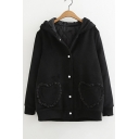Warm Button Closure Heart Pattern Pockets Front Long Sleeve Hooded Jacket