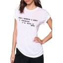 CAN I BORROW A KISS Letter Printed Round Neck Short Sleeve T-Shirt