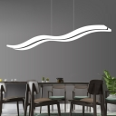 Contemporary Remote Control Led Up Light Down Lighting Acrylic Led Linear Chandelier 38W Wave Shaped Rectangle Led Island Lighting for Kitchen Dining Room Restaurant Study Room