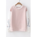 Fake Two Pieces Color Block Round Neck Floral Embroidered Long Sleeve Sweatshirt